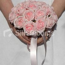 Baby Pink Bridesmaids Artificial Wedding Bouquet w/Satin Ribbon