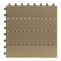 Gartenfreude Set of 10 Terrace Tiles 30 x 30 approx 0.9 m² Waterproof WPC (Bamboo Plastic Composite) Easy to Install Teak