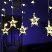 2m Curtain Lights with 75 Star Shaped LEDs by Festive Lights (Warm White)