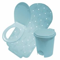 Crazy Gadget® Bathroom Accessories Sets in Fushcia Pink, Heather and Pale Blue. (Bath Mat-Bin-Toilet Seat, Pale Blue)