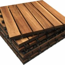24x Extra Thick Wooden Interlocking Acacia Hardwood Decking Tiles. Patio, Garden, Balcony, Hot Tub. 30cm Square Deck Tile