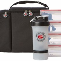 Prepped and Packed Apollo Meal Prep Bag Set, 4 Dual Clip Food Containers, 2 Gel Ice Packs, Protein Shaker and Shoulder Strap