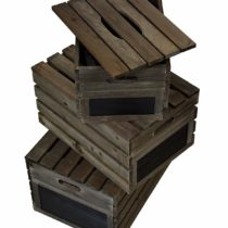 Green Jem Rustic Wooden Crates with Linds – Chestnut Brown (Set of 3)
