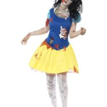 Smiffys Adult Women's Zombie Snow Fright Costume, Dress with Latex Chest and Headband, Zombie Alley, Halloween, Size: XS, 23352