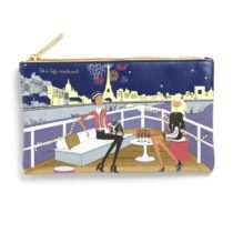 """Filosofille Make-Up Pouch with Lining with""""New Year's Eve Dinner on the Seine"""" Theme"""