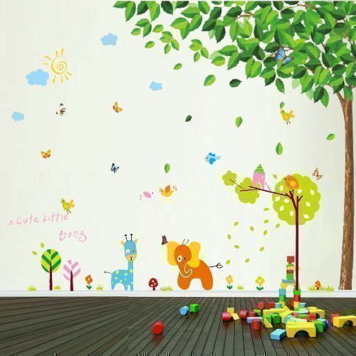 Green Leaves Baby Elephant TG-6T99-COQ1 Removable Self-Adhesive Mural Vinyl Art Decals DIY Wall Stickers
