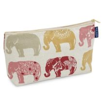 Blue Badge Company Cotton Padded Toiletries Case Wash Bag with Waterproof Lining, Indian Elephant Print