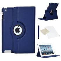 Stuff4 Leather Smart Case with 360 Degree Rotating Swivel Action and Free Screen Protector/Stylus Touch Pen for Apple iPad 2/3/4 – Navy Blue