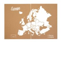 Miss Wood Woody Map XXL Cork–Map of the World with Europe Design, White