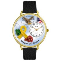 Whimsical Watches Support Our Troops Tan Leather and Goldtone Unisex Quartz Watch with White Dial Analogue Display and Multicolour Leather Strap G-1110005