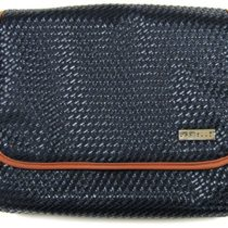 Danielle Creations Weave Foldout Traveller Cosmetic Bag – Navy/ Tan