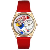 Whimsical Watches Scrapbook Red Leather and Goldtone Unisex Quartz Watch with White Dial Analogue Display and Multicolour Leather Strap C-0410002