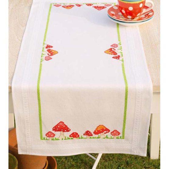 Vervaco Embroidery: Runner: Toadstools, 100% Cotton Multi-Colour, 40 x 27 x 20 cm