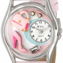 Whimsical Watches Shopper Mom Pink Leather and Silvertone Unisex Quartz Watch with White Dial Analogue Display and Multicolour Leather Strap S-1010007