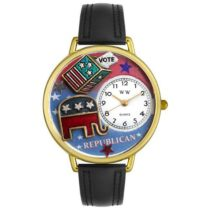 Whimsical Watches Republican Black Leather and Goldtone Unisex Quartz Watch with White Dial Analogue Display and Multicolour Leather Strap G-1110003