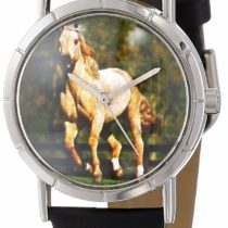 Whimsical Watches Quarter Horse Black Leather and Silvertone Photo Unisex Quartz Watch with White Dial Analogue Display and Multicolour Leather Strap R-0110030