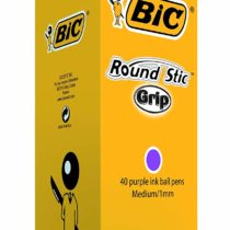 BIC Round Stic Grip Ballpoint Pens Purple 40 Box