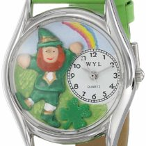Whimsical Watches Stick's Day Rainbow Green Leather and Silvertone Unisex Quartz Watch with White Dial Analogue Display and Multicolour Leather Strap S-1224002
