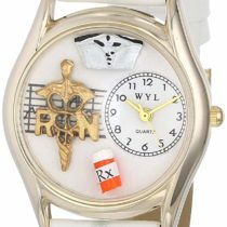 Whimsical Watches RN White Leather and Goldtone Unisex Quartz Watch with White Dial Analogue Display and Multicolour Leather Strap C-0610019