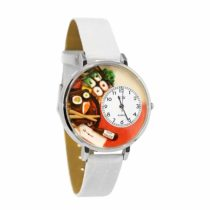 Whimsical Watches Sushi White Leather and Silvertone Unisex Quartz Watch with White Dial Analogue Display and Multicolour Leather Strap U-0310013