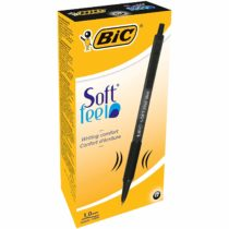 BIC Soft Feel Ballpoint pens Medium Point (1.0 mm) – Black, Box of 12