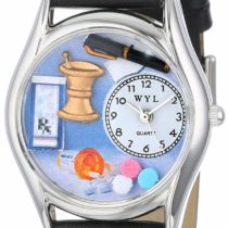 Whimsical Watches Pharmacist Black Leather and Silvertone Unisex Quartz Watch with White Dial Analogue Display and Multicolour Leather Strap S-0610005