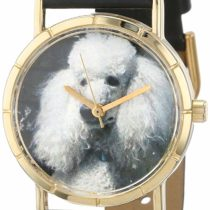 Whimsical Watches Poodle Black Leather and Goldtone Photo Unisex Quartz Watch with White Dial Analogue Display and Multicolour Leather Strap P-0130059