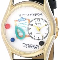 Whimsical Watches Physical Therapist Black Leather and Goldtone Unisex Quartz Watch with White Dial Analogue Display and Multicolour Leather Strap C-0610006