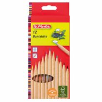 Herlitz FSC Wood 10 Jumbo Colouring Pencils Varnished in Hanging Box 10 Pieces in Hanging Box – 10 Colours 12 -Colour Natural