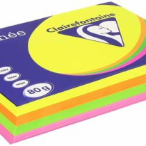 Clairefontaine Trophee 1705C Fluorescent Paper Assorted Pink Yellow Green Orange 80 g