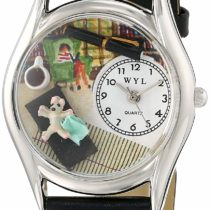 Whimsical Watches Psychiatrist Black Leather and Silvertone Unisex Quartz Watch with White Dial Analogue Display and Multicolour Leather Strap S-0640005