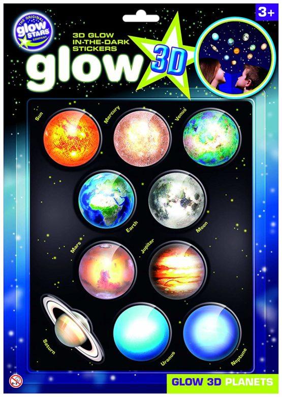 The Original Glowstars Company B8101 – Glow 3-D Stickers – Planets