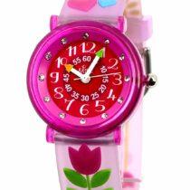 Baby Watch–606047–Tulip –Children's Watch–Quartz–Educational – Pink Dial – Pink Plastic Strap