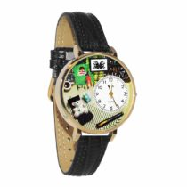 Whimsical Watches Psychiatrist Black Skin Leather and Silvertone Unisex Quartz Watch with White Dial Analogue Display and Multicolour Leather Strap U-0610010