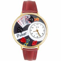 Whimsical Watches Poker Gold Leather and Goldtone Unisex Quartz Watch with White Dial Analogue Display and Multicolour Leather Strap G-0430004