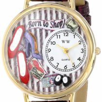 Whimsical Watches Shoe Shopper Purple Leather and Goldtone Unisex Quartz Watch with White Dial Analogue Display and Multicolour Leather Strap G-1010005