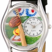 Whimsical Watches Softball Black Skin Leather and Silvertone Unisex Quartz Watch with White Dial Analogue Display and Multicolour Leather Strap S-0820023