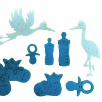 'Petra's Craft News A Baby BYF8 °F47 Felt Set – 62 Piece Set Consists Of 60 Light Blue Felt Shapes and 2 Storks in White