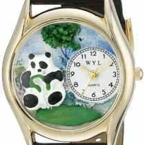 Whimsical Watches Panda Bear Black Leather and Goldtone Unisex Quartz Watch with White Dial Analogue Display and Multicolour Leather Strap C-0150001
