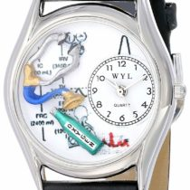 Whimsical Watches Respiratory Therapist Black Leather and Silvertone Unisex Quartz Watch with White Dial Analogue Display and Multicolour Leather Strap S-0610018