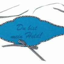 'Petra's Craft News A FBF36°F5789Bottle Turquoise Blue Felt Tape, You Are My Hero with Black Check Band Threaded
