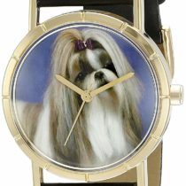 Whimsical Watches Shihtzu Black Leather and Goldtone Photo Unisex Quartz Watch with White Dial Analogue Display and Multicolour Leather Strap P-0130069