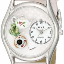 Whimsical Watches Tea Roses Pink Leather and Silvertone Unisex Quartz Watch with White Dial Analogue Display and Multicolour Leather Strap S-0310003