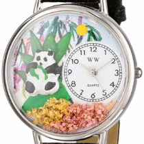 Whimsical Watches Panda Bear Black Skin Leather and Silvertone Unisex Quartz Watch with White Dial Analogue Display and Multicolour Leather Strap U-0150017