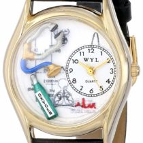 Whimsical Watches Respiratory Therapist Black Leather and Goldtone Unisex Quartz Watch with White Dial Analogue Display and Multicolour Leather Strap C-0610018