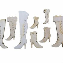 'Petra's Craft News PZH5S14Wood Set Boots–2Each of 6different designs plus 2with Hole (14Pieces)