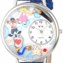 Whimsical Watches Pediatrician Royal Blue Leather and Silvertone Unisex Quartz Watch with White Dial Analogue Display and Multicolour Leather Strap U-0620006