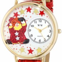 Whimsical Watches Red Star Clown Red Leather and Goldtone Unisex Quartz Watch with White Dial Analogue Display and Multicolour Leather Strap G-0210008