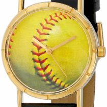 Whimsical Watches Softball Lover Black Leather and Goldtone Photo Unisex Quartz Watch with White Dial Analogue Display and Multicolour Leather Strap P-0840003