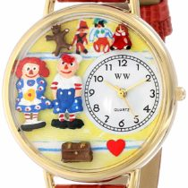 Whimsical Watches Raggedy Ann and Andy Navy Blue Leather and Goldtone Unisex Quartz Watch with White Dial Analogue Display and Multicolour Leather Strap G-0220006
